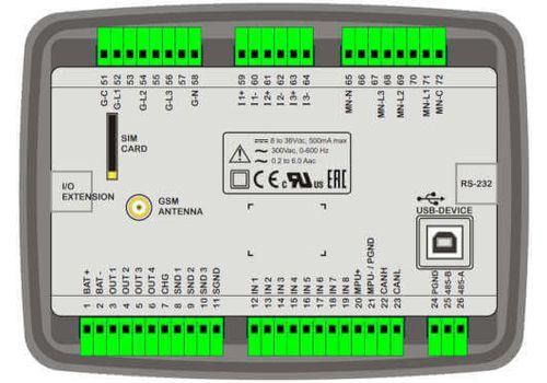 D-500 LITE Инновационный контроллер генераторной установкой с резервированием вводов. Протоколы RS485, RS232, J1939-CANBUS, MPU. Доступен GSM модем, фото 2