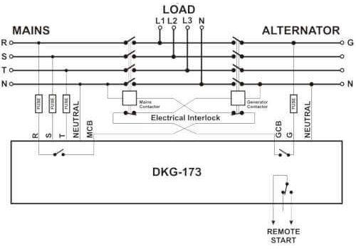 ATS контроллер DKG-173 на DIN рейку для комплектации АВР генератора, фото 2