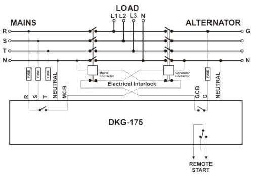 Программируемый ATS контроллер DKG-175 на DIN рейку с дисплеем для комплектации АВР генератора, фото 4